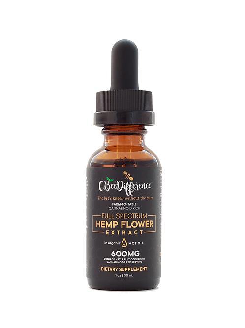 600mg Full Spectrum Hemp Flower Extract in Organic MCT Oil     1 FL Oz