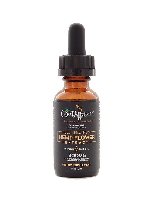 300mg Full Spectrum Hemp Flower Extract in Organic MCT Oil        1 FL Oz