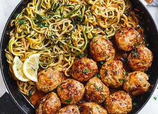 Garlic Butter Meatballs + Lemon Zucchini Noodles