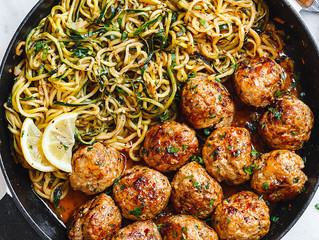 Garlic Butter Meatballs + Lemon Zucchini Noodles