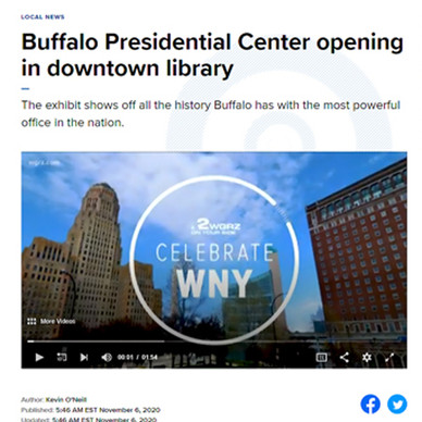 WGR News Article and Video Announcing Buffalo Presidential Center Opening in Downtown Library