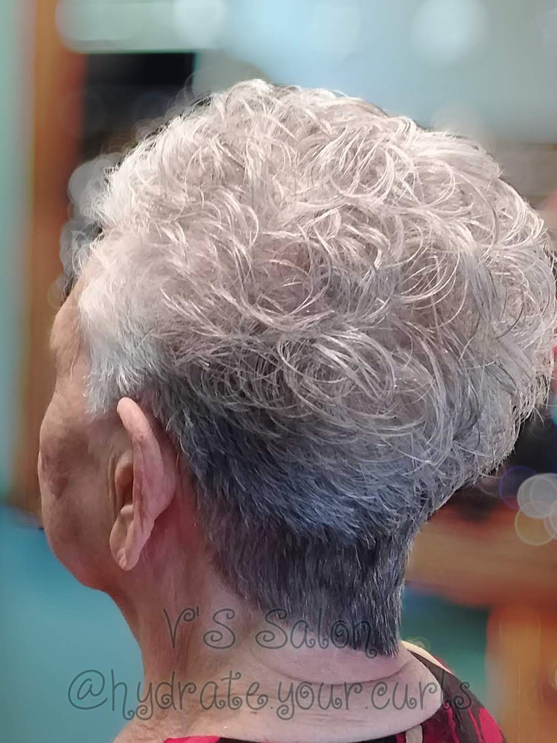 Silver Curly Pixie