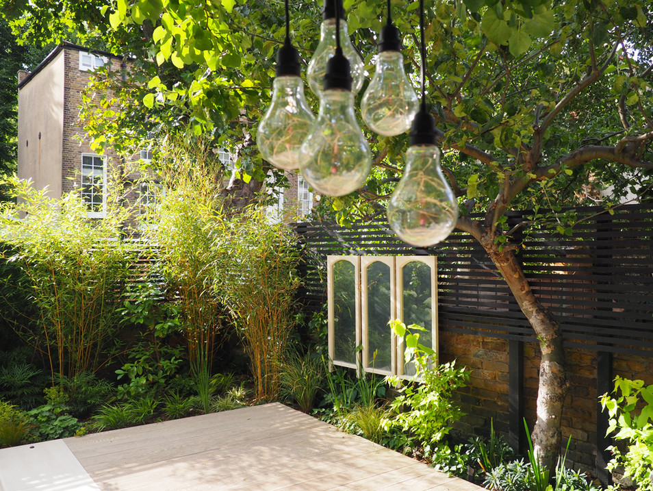 Taryn Ferris Garden Design - Outdoor Pendant Lighting and Bespoke Garden Mirrors - De Beauvoir Town