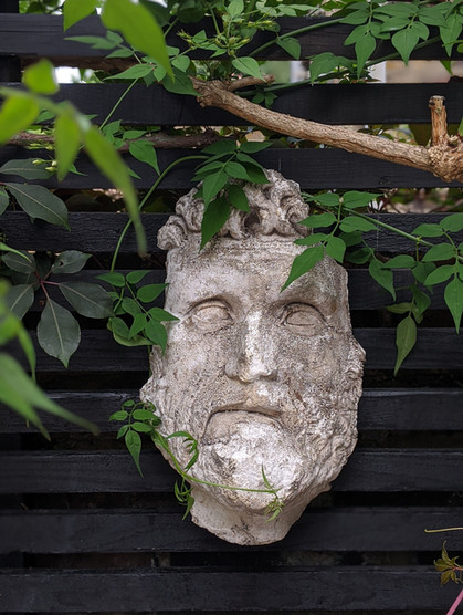 Taryn Ferris Garden Design - Detail- Bust of Zeus - De Beauvoir Town