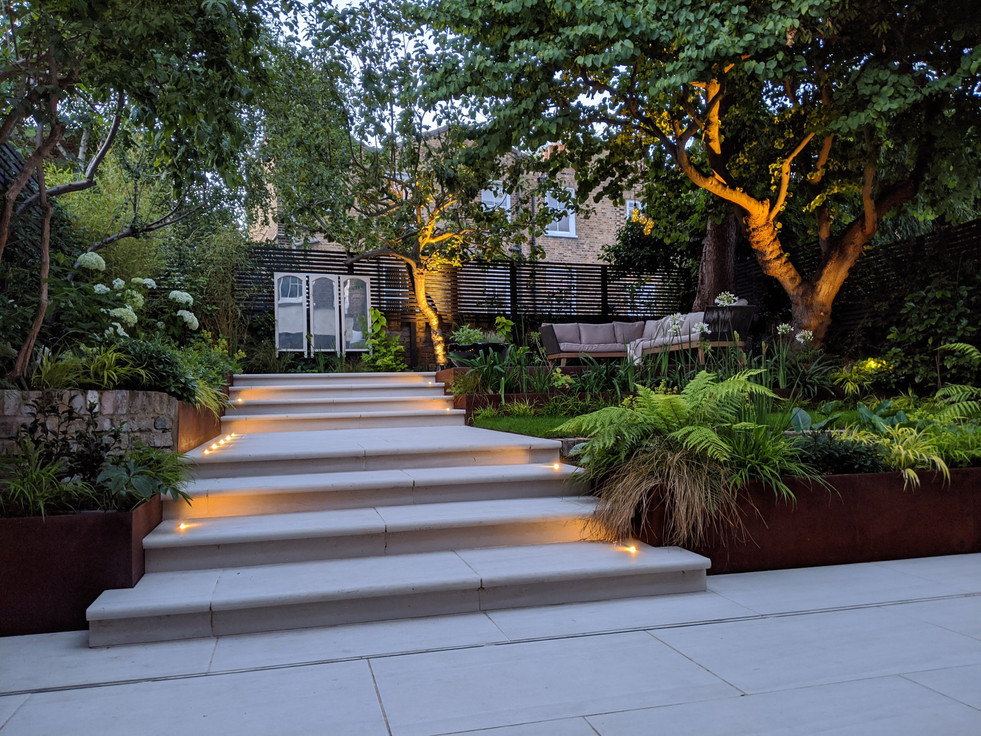 Taryn Ferris Garden Design - Recessed Paving Lights and Tree Uplighting - De Beauvoir Town