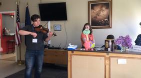 playing music at nursing home