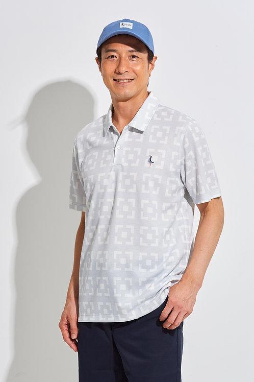 Tee-chi メンズポロシャツ<花ブロックスクエア><GREY>