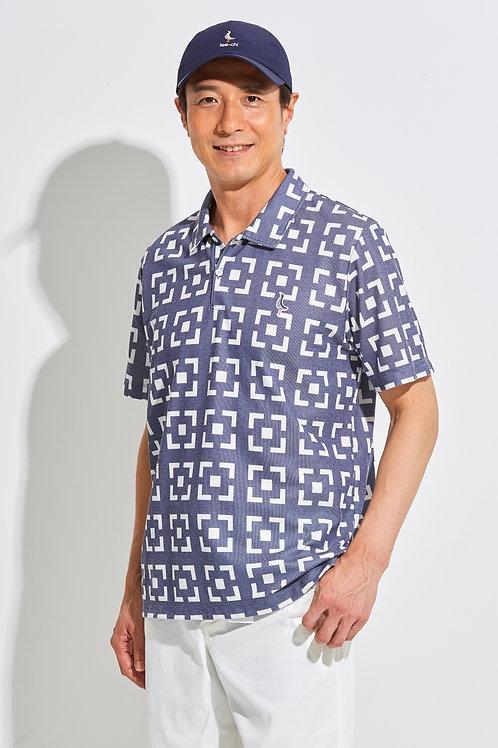 Tee-chi メンズポロシャツ<花ブロックスクエア><BLUE>