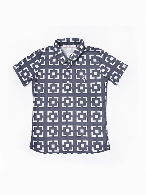 Tee-chi レディースポロシャツ <花ブロックスクエア><BLUE>
