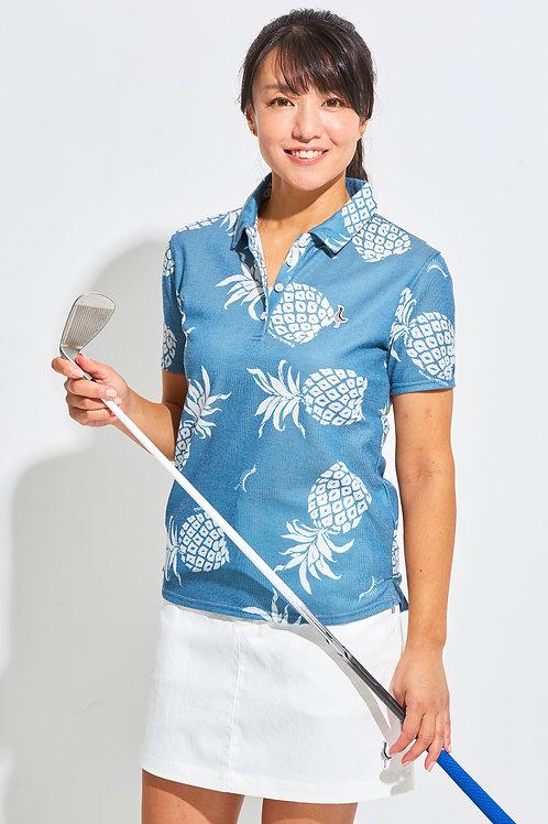 Tee-chi レディースポロシャツ <PAIKAJIコラボ パイナップルTee-chiくん2020><NAVY>