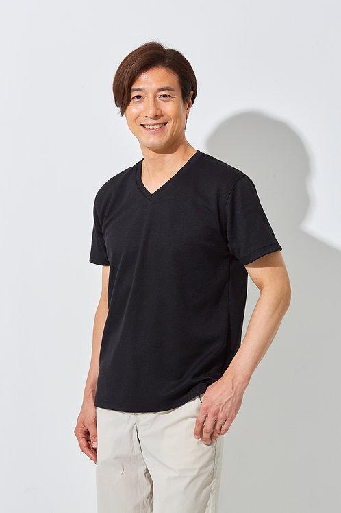 Tee-chi メンズTシャツ <Vネック><BLACK>