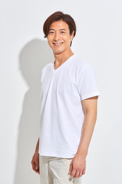 Tee-chi メンズTシャツ <Vネック><WHITE>