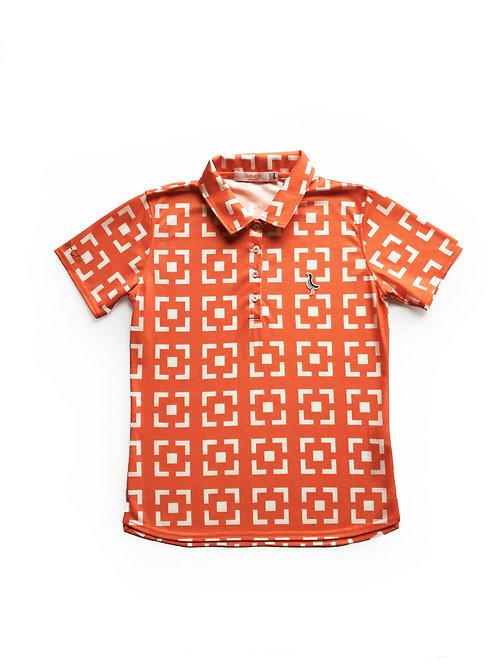 Tee-chi レディースポロシャツ <花ブロックスクエア><ORANGE>