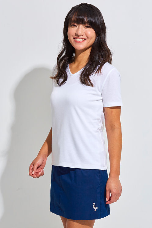 Tee-chi レディースTシャツ <Vネック><WHITE>