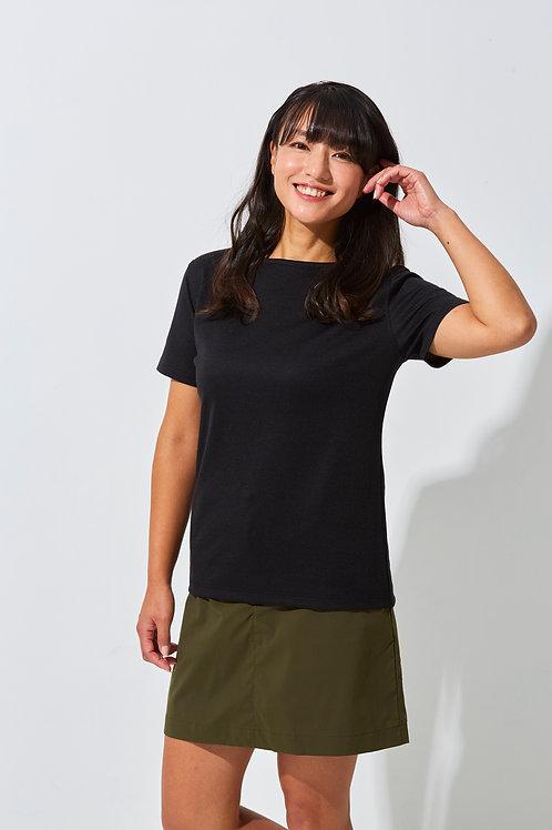 Tee-chi レディースTシャツ <ボートネック><BLACK>