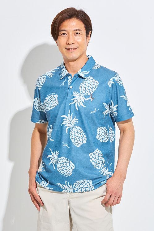 Tee-chi メンズポロシャツ <PAIKAJIコラボ パイナップルTee-chiくん2020><NAVY>