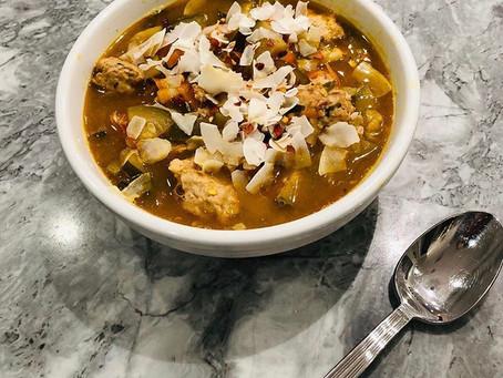 Thai Vegetable Egg-Drop Soup with Ginger-Cilantro Turkey Meatballs