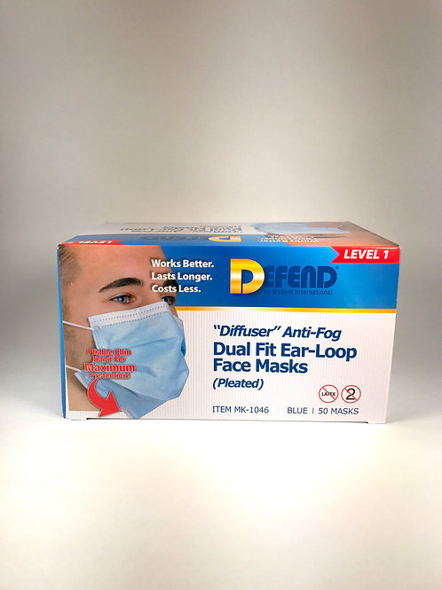 """Diffuser""Anti-Fog Dual Fit Ear-Loop Face Masks (Pleated)"