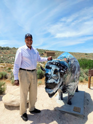 Melvin gets close the the painted bison.
