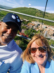 Getting a look from above on the ski lift in Park City during a client visit in Utah.