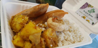 Curried potatoes, rice and giant samosa