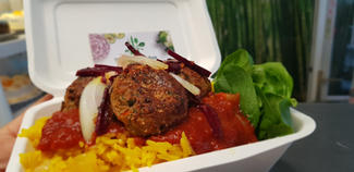 Meaty balls, salsa, turmeric rice and salad