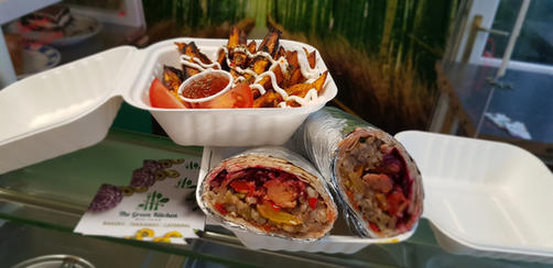 TGK's Burrito with sweet potato oven chips