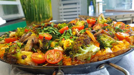 Spanish Paella topped with roasted vegetables
