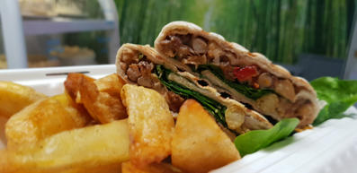 Hot protein wrap with crispy oven chips