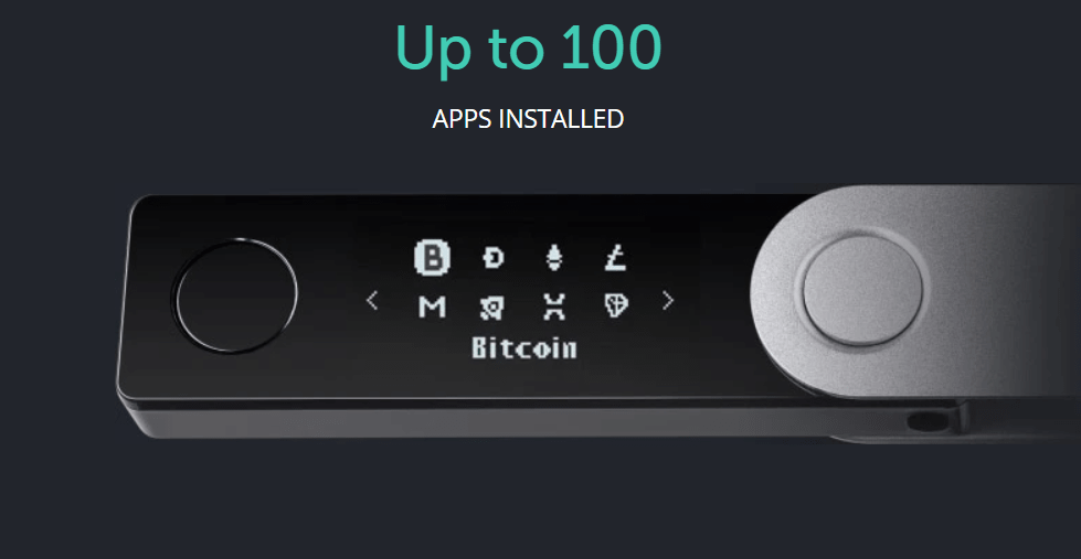 Ledger nano x can have up to 100 crypto apps installed