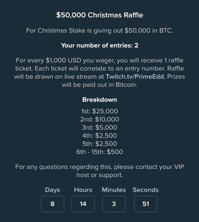 Rules for the $50,000 Christmas raffle at Stake casino