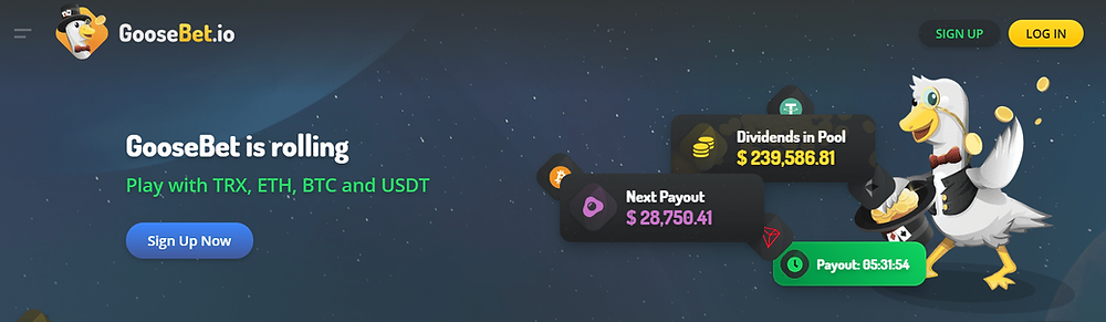earn crypto dividends with Goosebet.io casino