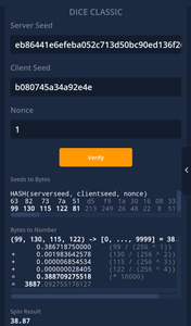 with luckyfish casino you can verify your bet with using all 3 variables which include the server & client seed's and the nonce
