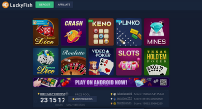 luckyfish casino's game selection overview