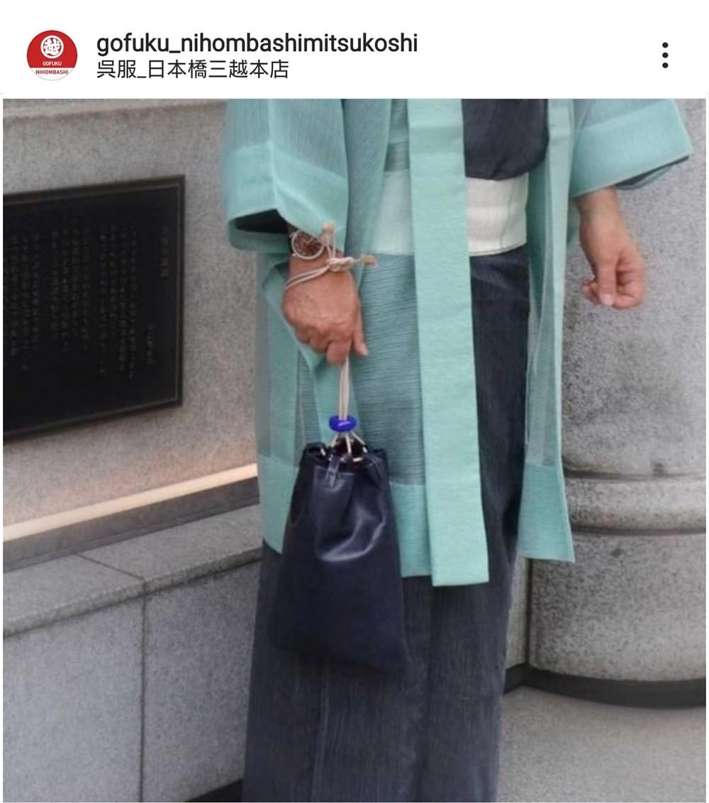 日本橋三越 巾着 合切袋 革 川越 坂庭