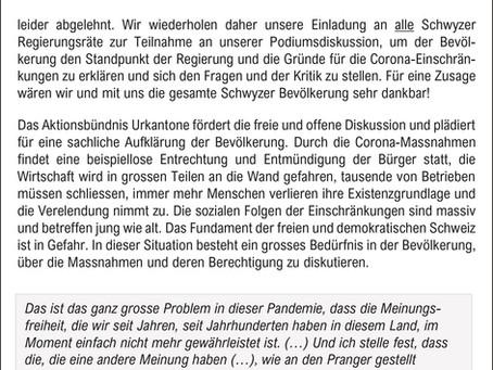 Schwyzer Regierungsräte verweigern Dialog – Einladung zu Podiumsdiskussion abgelehnt