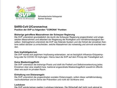 SVP Schwyz Positionspapier Corona