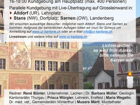 Kundgebung am Samstag 9. Januar 2021 in Schwyz, Altdorf (UR), Stans (NW) und Sarnen (OW)