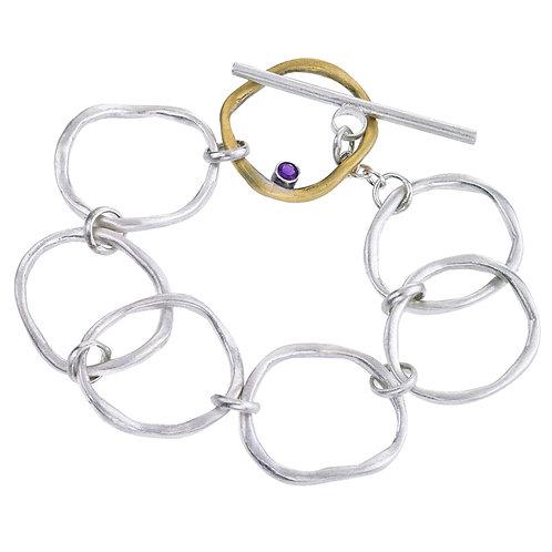 Mixed Metal Wave link bracelet