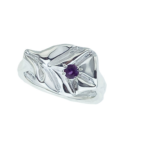 Silver & Amethyst Leaf Ring