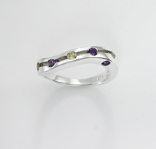 Silver Wave Ring with Amethyst & Peridot