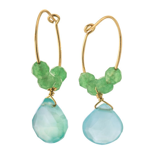 Chalcedony and Aventurine Hoop Wire Earrings