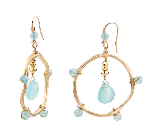 Gold & Chalcedony Wave Link Earrings