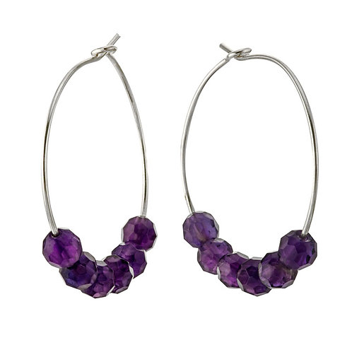 Amethyst Hoop Wire Earrings