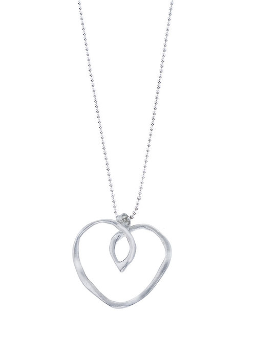 Silver Wave Heart Pendant