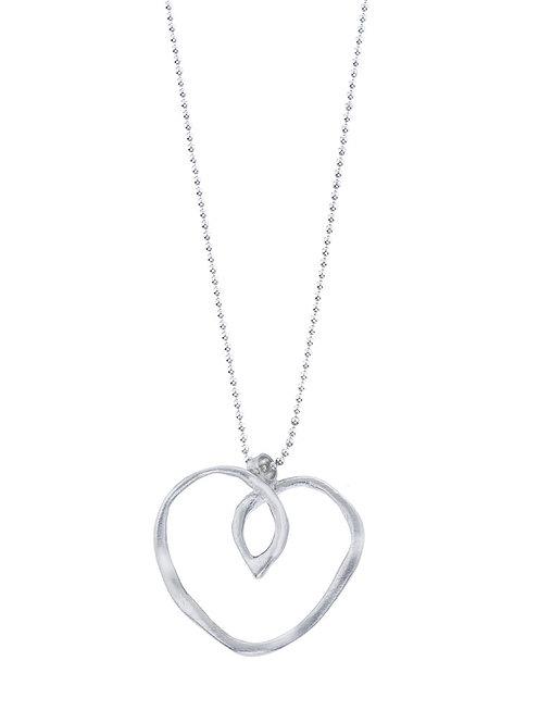 Silver Wave Heart Pendant