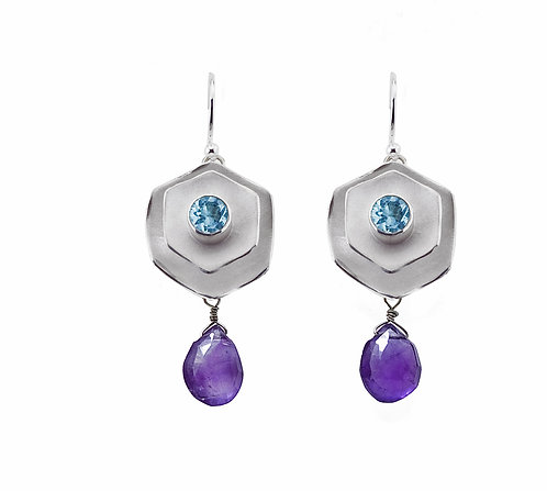 Silver with Apatite & Amethyst Hexagon Dangle