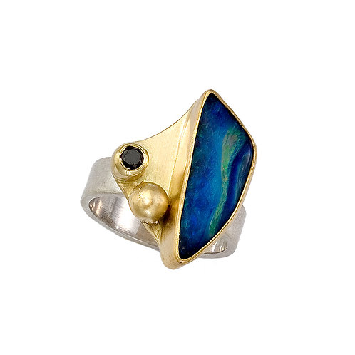Mixed Metal Boulder Opal Ring