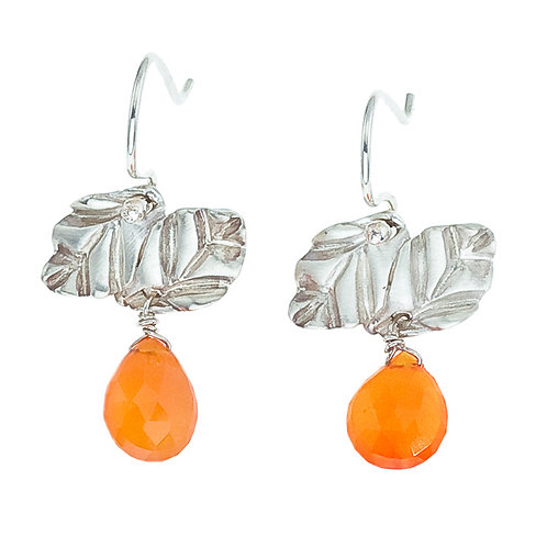 Silver & Carnelian Double Leaf Dangle