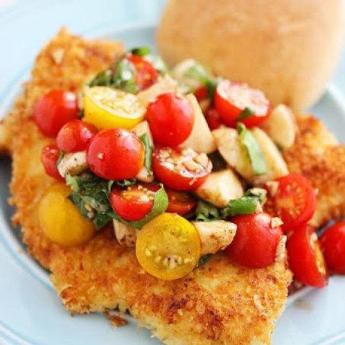Chicken shnitzel  With Argula and Tomato Salad
